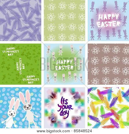 large set of Abstract grunge texture, floral seamless pattern, Happy Easter card design, Happy StPat
