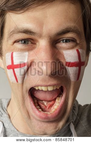 English Fan With Face Painted