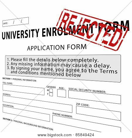 University enrollment form with red rejected rubber stamp
