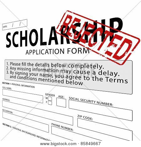 Scholarship application form with red rejected rubber stamp