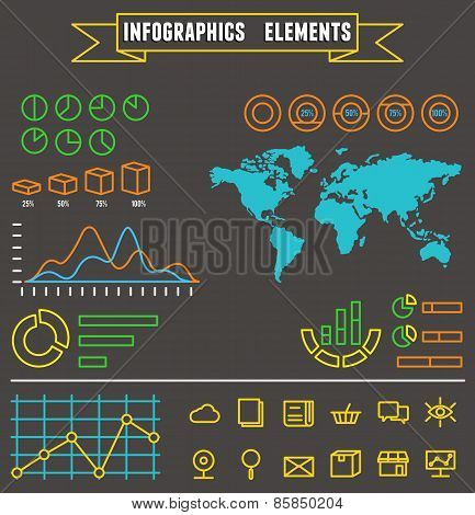 Linear Set Of Business  Infographics Elements And Symbols For Design