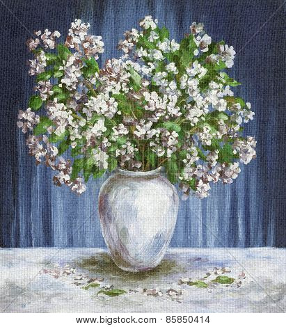 Painting Flowers Jasmine in a Vase
