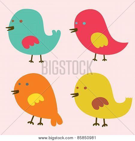 Set Of Lovely Birds.