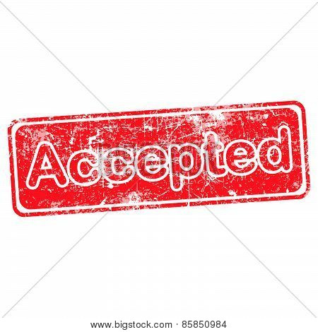 Accepted Red Grunge Rubber Stamp Vector Illustration