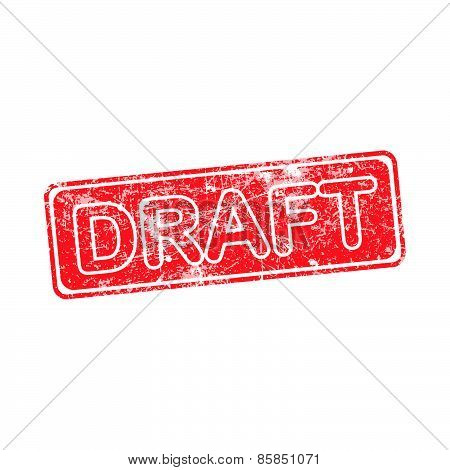 Draft Red Grunge Rubber Stamp Vector Illustration