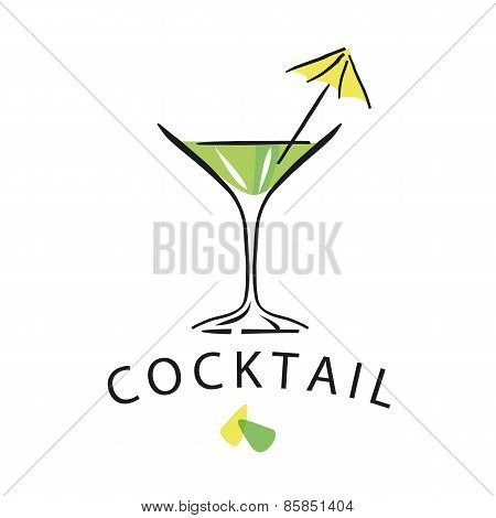 Vector Icon Cocktail Glass With Umbrella
