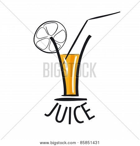 Vector Icon Of Fresh Juice In A Glass