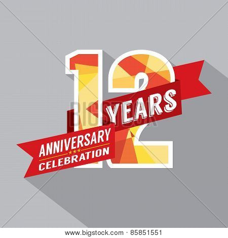 12Th Years Anniversary Celebration Design.