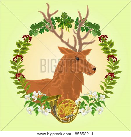 Reindeer Head  Hunting Theme Vector