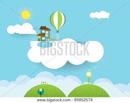 Landscape Paper Cut-fantasy Home On Cloud