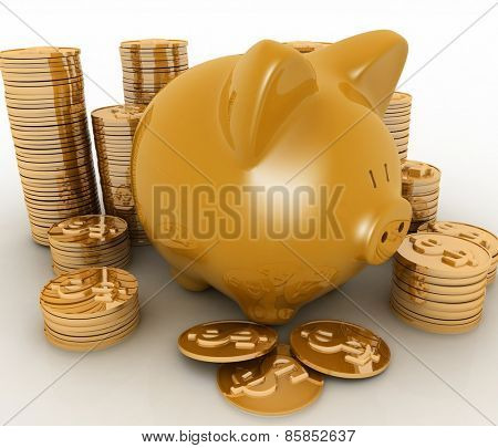 Gold piggy bank and money tower