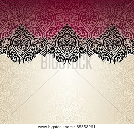 Fashionable red ecru and black vintage background