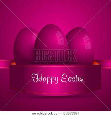 Happy Easter. Purple Easter Eggs Wrapped In Purple Ribbon. Purple Background. Vector Eps 10 . Uskrs.