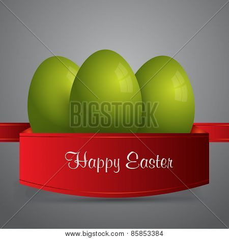 Happy Easter. Green Easter Eggs Wrapped In Red Ribbon. Gray Background. Vector Eps 10 . Uskrs.