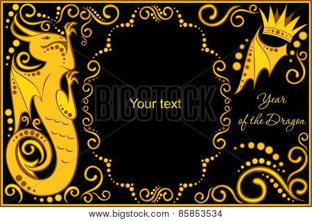 Vector Template With Sign Chinese Horoscope - Dragon.eps