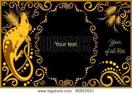 Vector Template With Sign Chinese Horoscope - Rat.eps