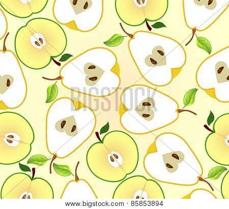 Background With Apple And Pear Halves