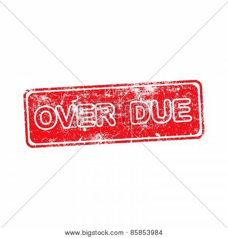 Overdue Red Rubber Stamp Vector Over A White Background.