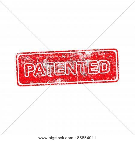 Patented Red Grunge Rubber Stamp Vector Illustration.