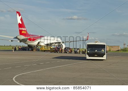 Aircraft for the North Wind preparing for take-off at the airport Volgograd international airport