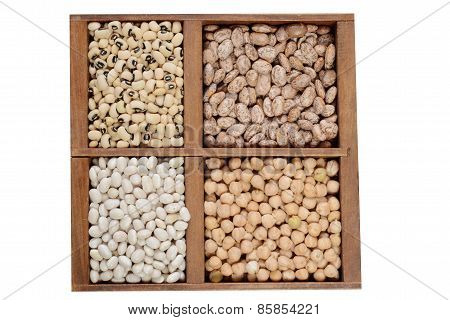 dried beans in a wood box