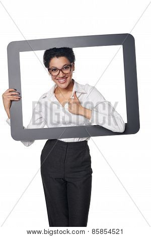 Happy smiling business woman looking through frame