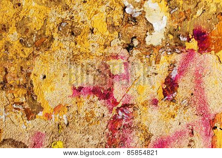 Creative Background Beautiful Concrete Casually Painted Yellow And Burgundy Paint, Cracks And Scratc