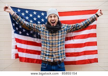 Excited Patriot Of American Style.