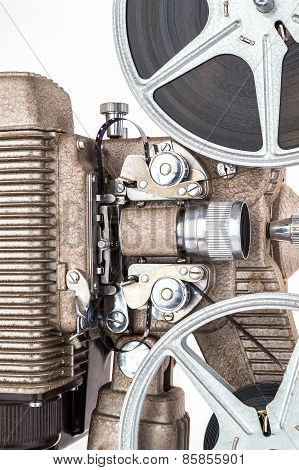Close up view of Vintage 8 mm Movie Projector with Film Reels.