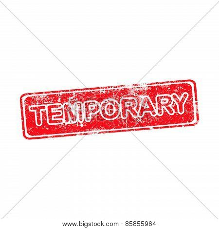 Temporary Red Grunge Rubber Stamp Vector Illustration.