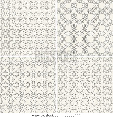 Geometric vector seamless patterns set