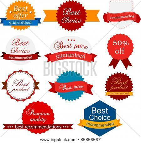 Set of red, orange and blue award badges. Vector illustration.