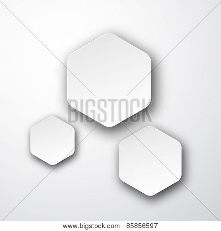 Vector illustration of white paper hexagonal notes. Eps10.