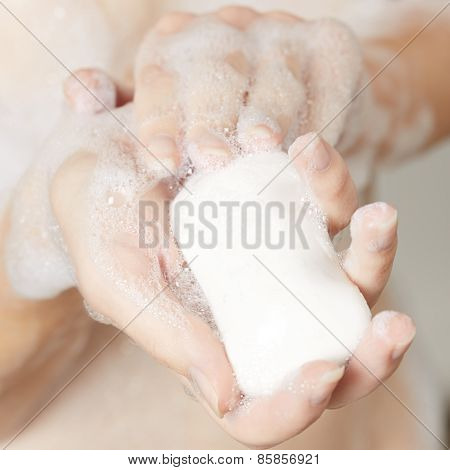 Female Hands With Soap