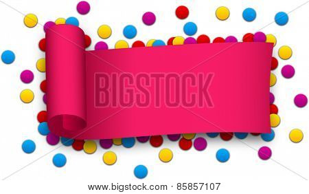 Magenta curled ribbon over confetti. Vector illustration.