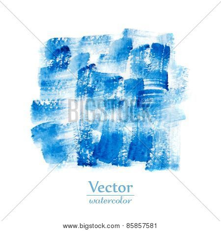 Blue brush smears. Abstract stylish watercolor background.