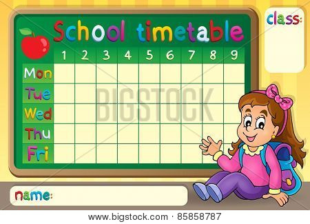 School timetable with happy girl - eps10 vector illustration.