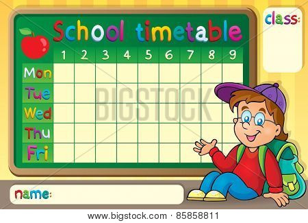 School timetable with happy boy - eps10 vector illustration.