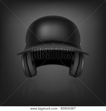 Black Baseball Helmet. Vector Background.