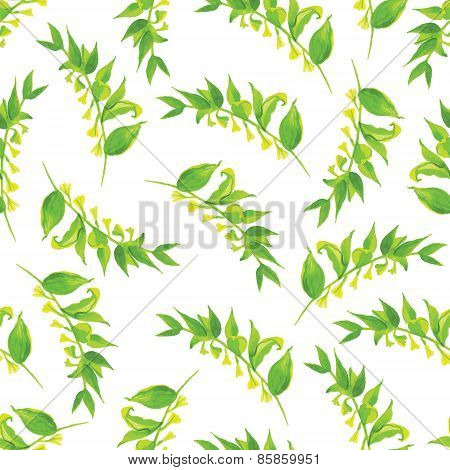 Green Leaves Watercolor Seamless Vector Print