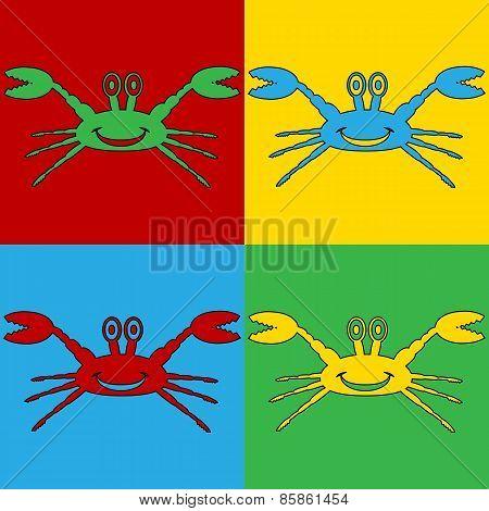 Pop Art Crab Symbol Icons.