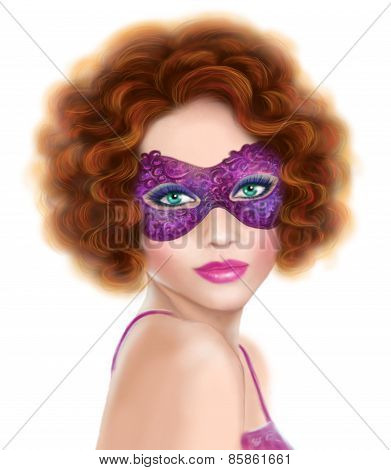 beautiful retro  woman wearing venetian masquerade carnival mask at party