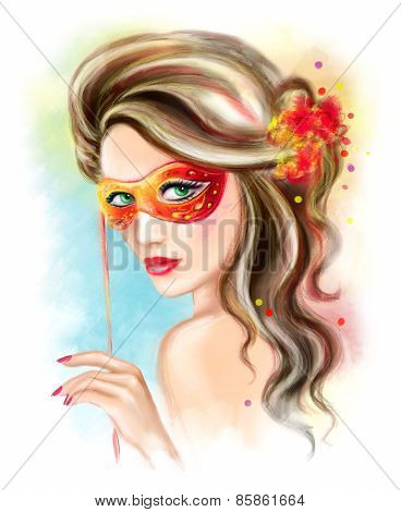 abstract portrait beautiful  woman  masquerade carnival mask