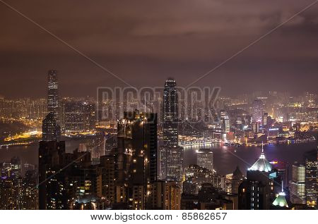 Nightview Of Hong Kong City From Victoria Peak on 31 December, 2013