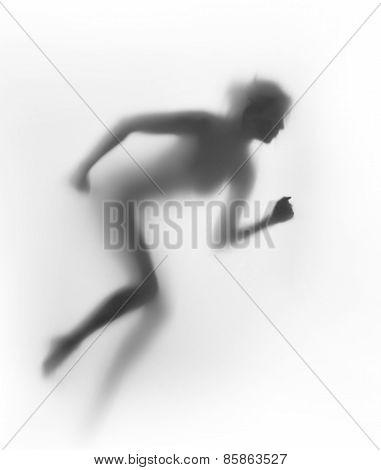 Runner woman body silhouette
