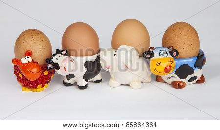 Set of cow shapped egg cups