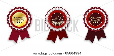 Red And Golden Ribbon Rosette