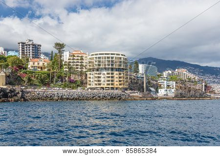 Seascape Coastline Madeira With Several Modern Hotels Of Funchal