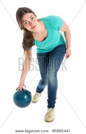 Woman Throwing A Bowling Ball