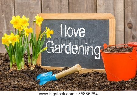 Blackboard In The Flower Bed With The Text I Love Gardening